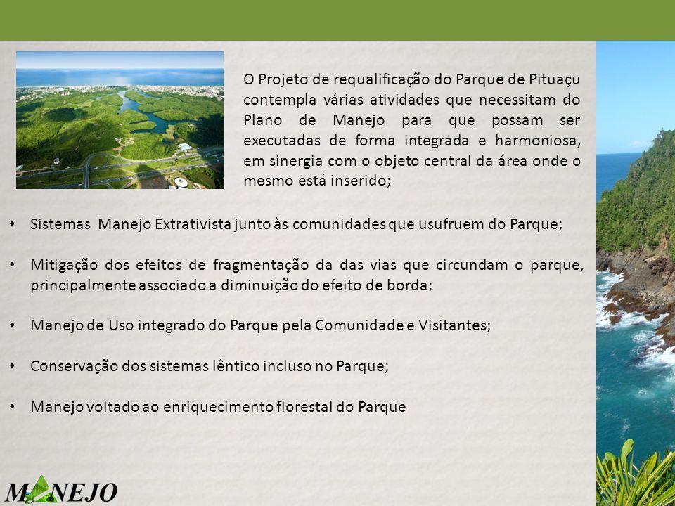 O Projeto de requalificação do Parque de Pituaçu contempla várias atividades que necessitam do Plano de Manejo para que possam ser executadas de forma integrada e harmoniosa, em sinergia com o objeto central da área onde o mesmo está inserido;