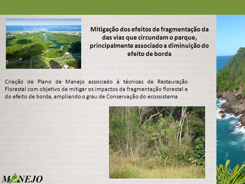 Mitigação dos efeitos de fragmentação da das vias que circundam o parque, principalmente associado a diminuição do efeito de borda