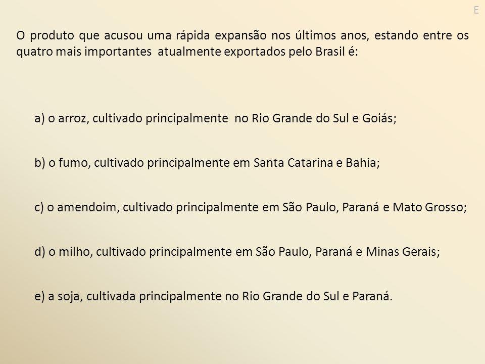 a) o arroz, cultivado principalmente no Rio Grande do Sul e Goiás;