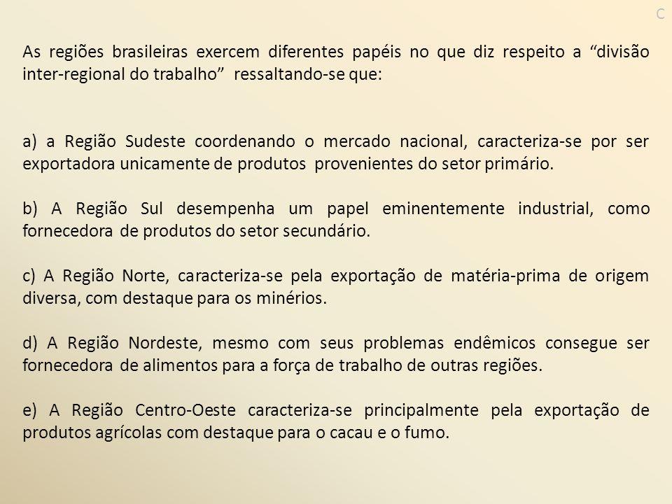 C As regiões brasileiras exercem diferentes papéis no que diz respeito a divisão inter-regional do trabalho ressaltando-se que: