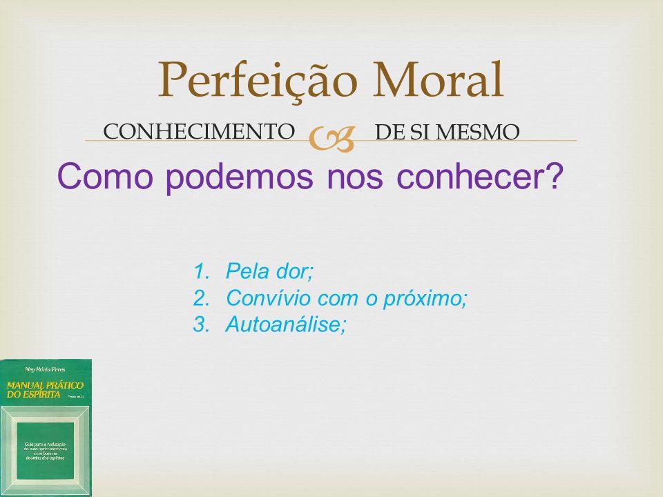 Perfeição Moral Como podemos nos conhecer CONHECIMENTO DE SI MESMO