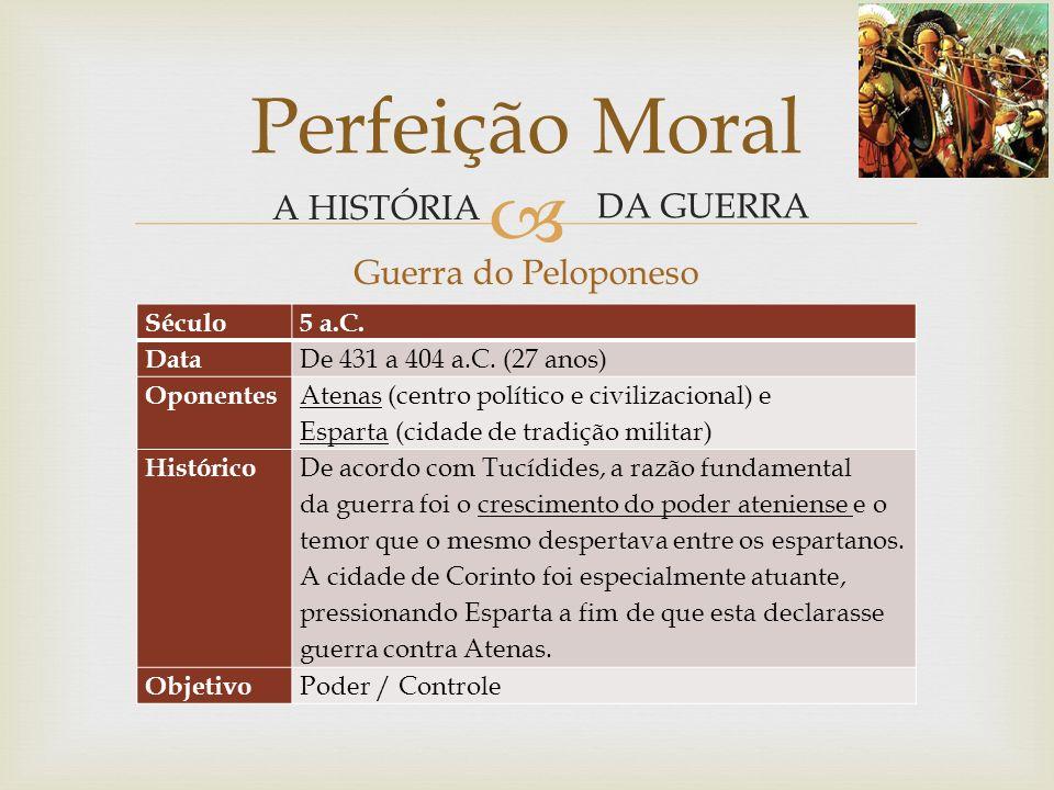 Perfeição Moral A HISTÓRIA DA GUERRA Guerra do Peloponeso Século
