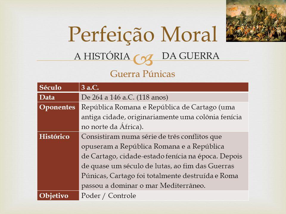 Perfeição Moral A HISTÓRIA DA GUERRA Guerra Púnicas Século 3 a.C. Data