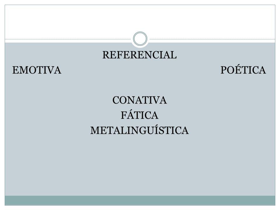 REFERENCIAL EMOTIVA POÉTICA CONATIVA FÁTICA METALINGUÍSTICA
