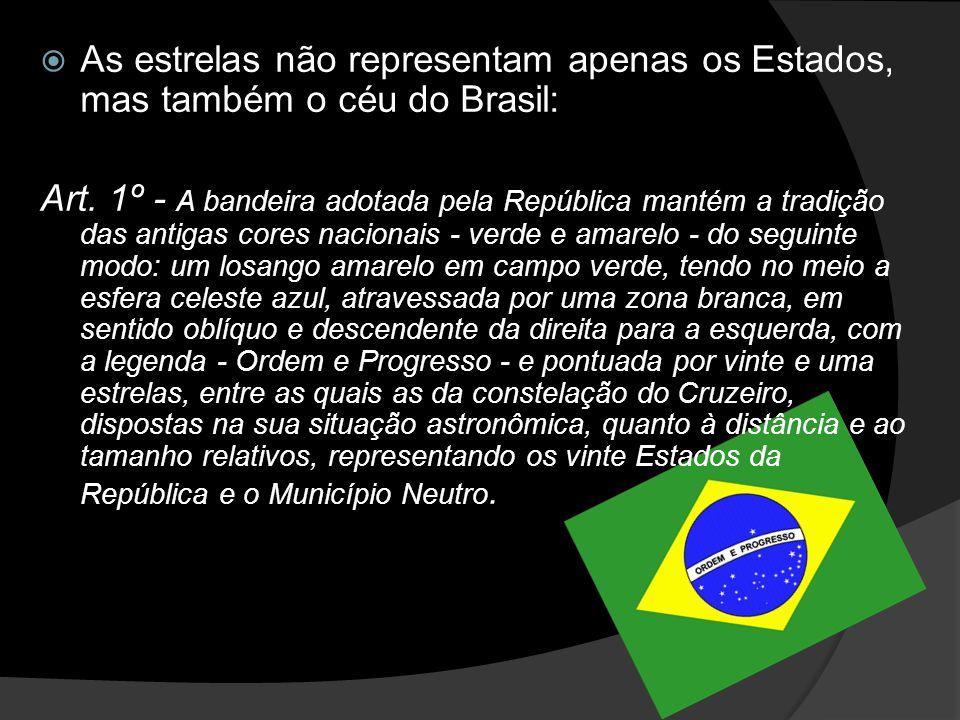 As estrelas não representam apenas os Estados, mas também o céu do Brasil: