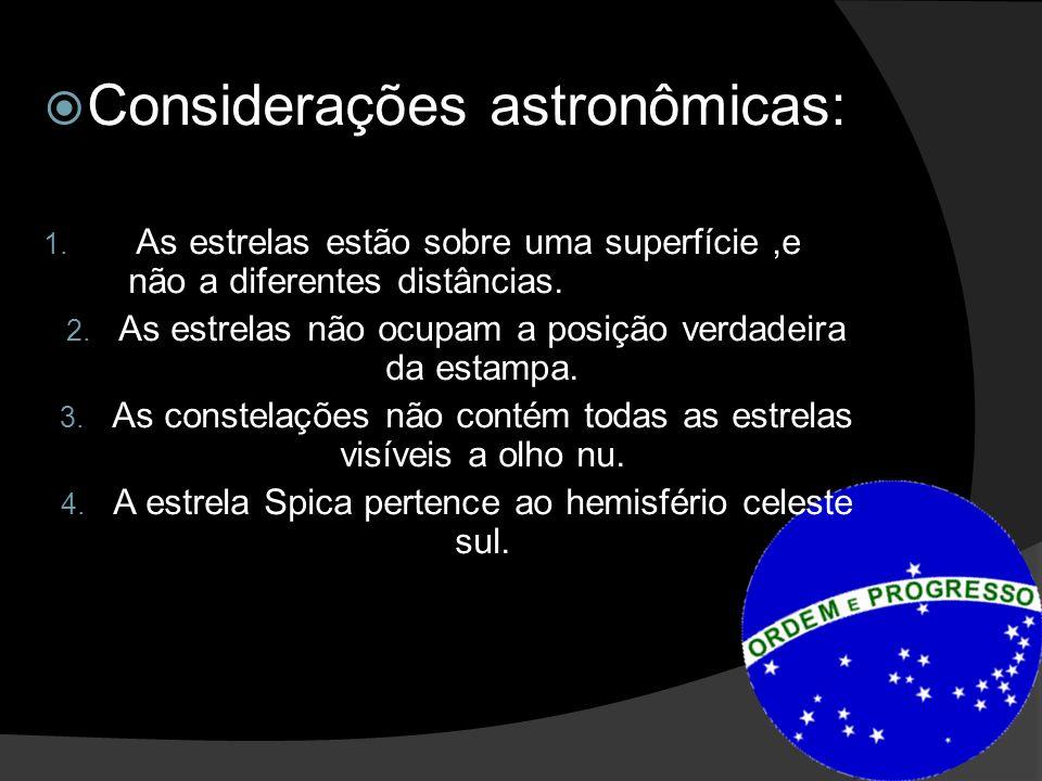 Considerações astronômicas: