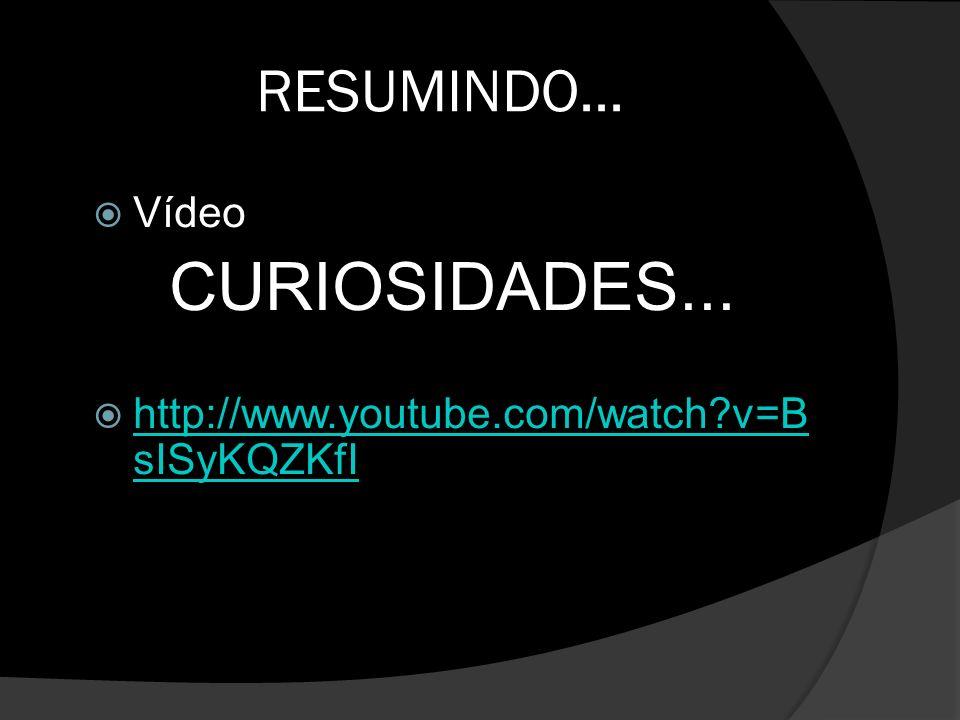 CURIOSIDADES... RESUMINDO... Vídeo
