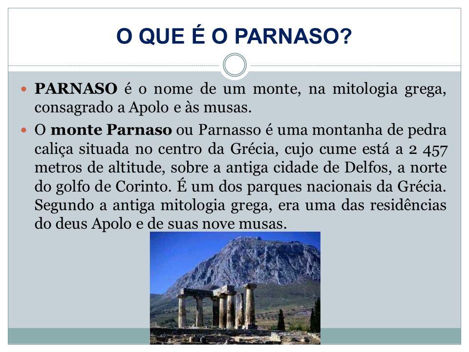 O QUE É O PARNASO PARNASO é o nome de um monte, na mitologia grega, consagrado a Apolo e às musas.