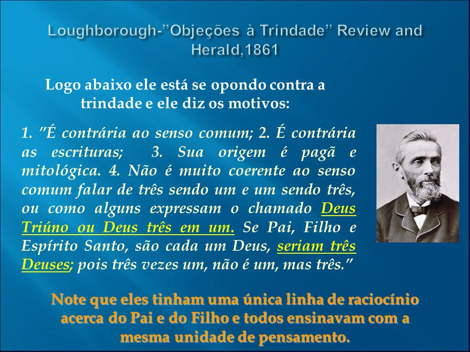 Loughborough- Objeções à Trindade Review and Herald,1861