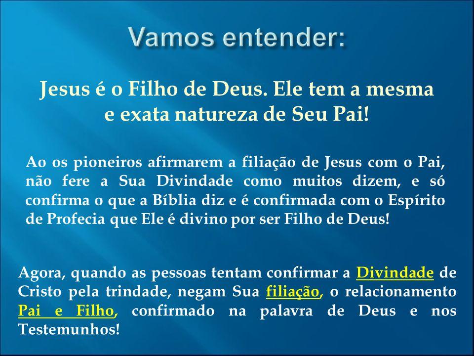 Jesus é o Filho de Deus. Ele tem a mesma e exata natureza de Seu Pai!