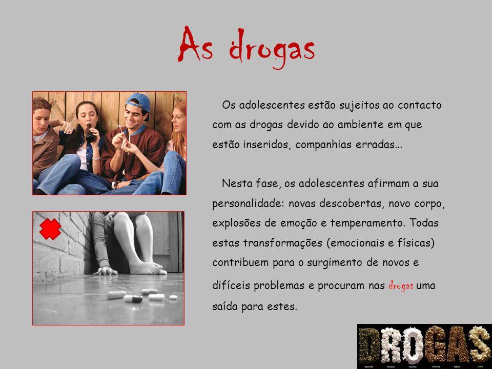 As drogas Os adolescentes estão sujeitos ao contacto com as drogas devido ao ambiente em que estão inseridos, companhias erradas...