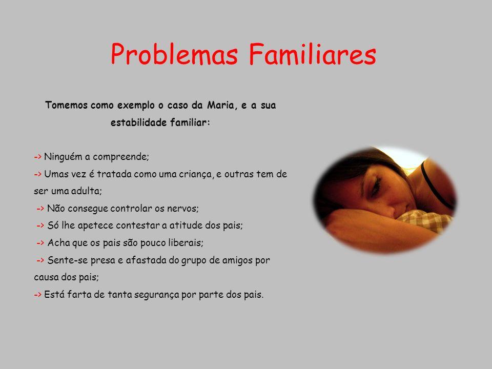 Tomemos como exemplo o caso da Maria, e a sua estabilidade familiar: