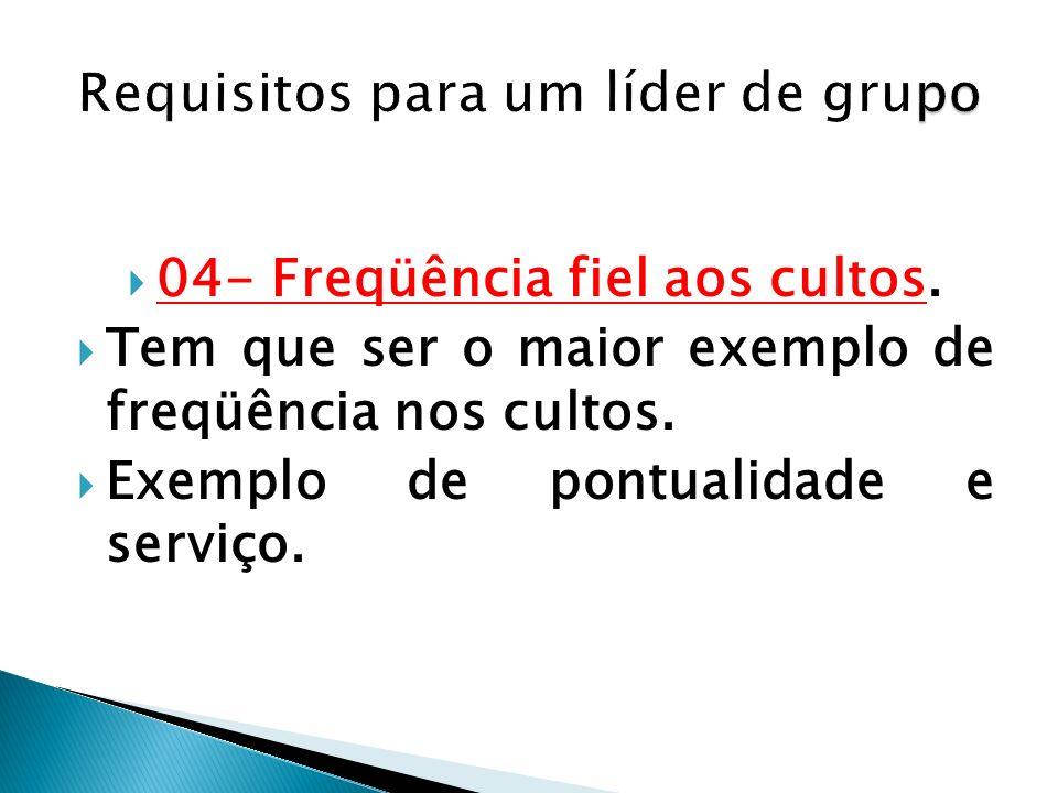 Requisitos para um líder de grupo