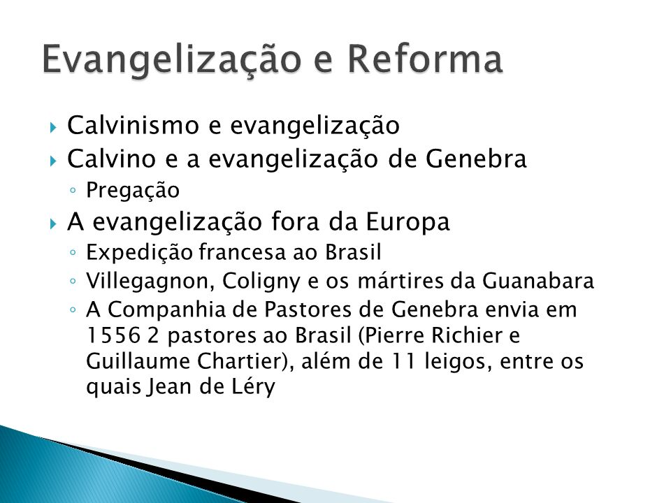 Evangelização e Reforma