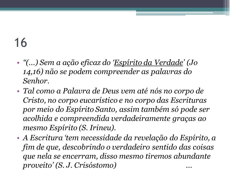 16 (...) Sem a ação eficaz do 'Espírito da Verdade' (Jo 14,16) não se podem compreender as palavras do Senhor.