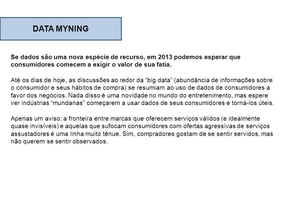 DATA MYNING Se dados são uma nova espécie de recurso, em 2013 podemos esperar que consumidores comecem a exigir o valor de sua fatia.
