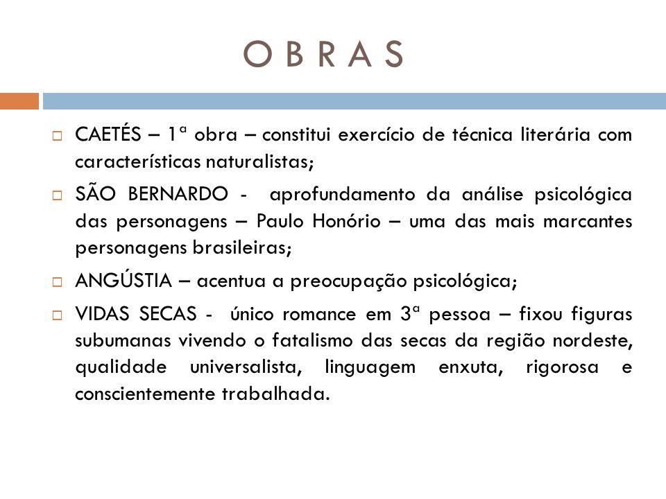 O B R A S CAETÉS – 1ª obra – constitui exercício de técnica literária com características naturalistas;