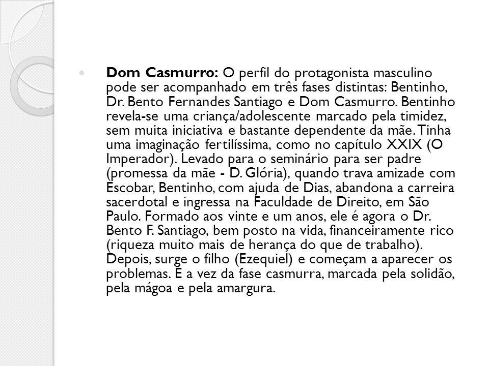 Dom Casmurro: O perfil do protagonista masculino pode ser acompanhado em três fases distintas: Bentinho, Dr.