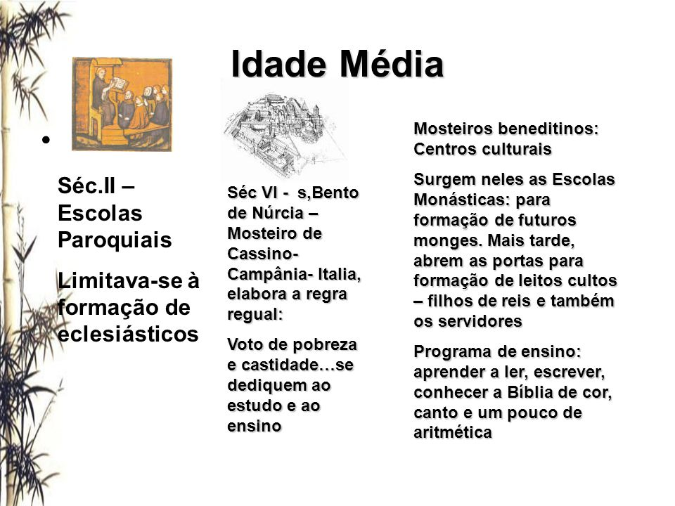 Idade Média Séc.II – Escolas Paroquiais