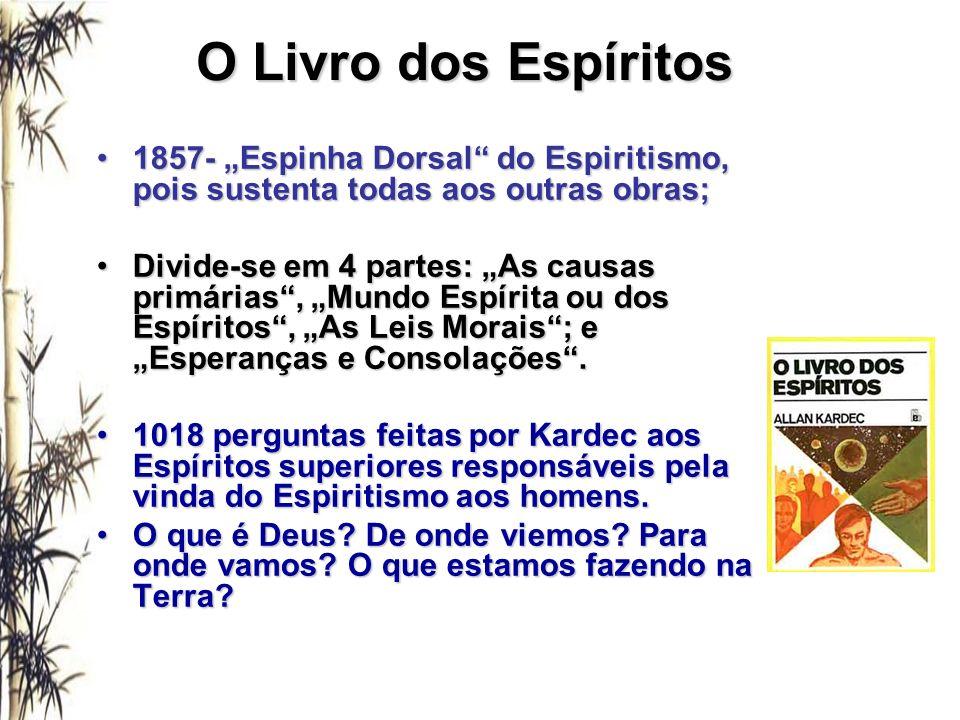"""O Livro dos Espíritos 1857- """"Espinha Dorsal do Espiritismo, pois sustenta todas aos outras obras;"""