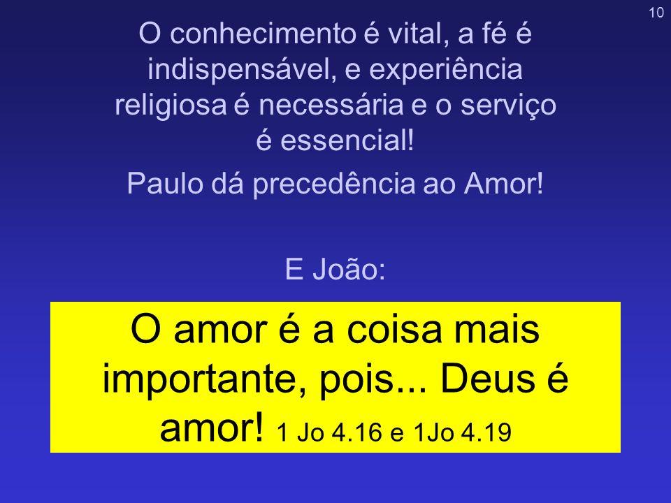 Paulo dá precedência ao Amor!