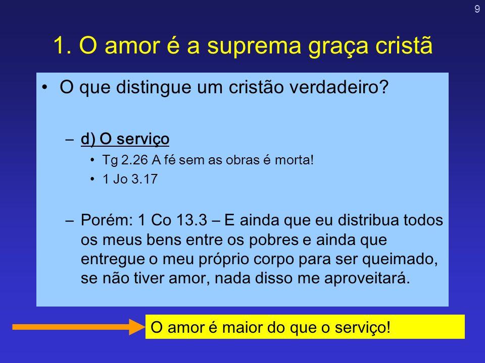 1. O amor é a suprema graça cristã