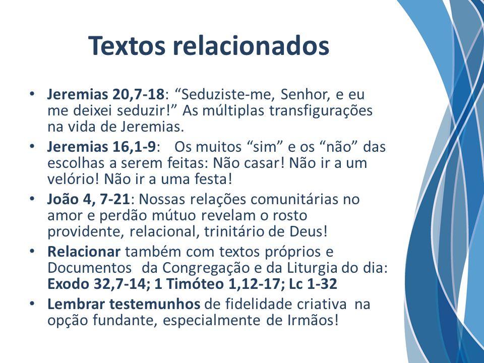Textos relacionados Jeremias 20,7-18: Seduziste-me, Senhor, e eu me deixei seduzir! As múltiplas transfigurações na vida de Jeremias.