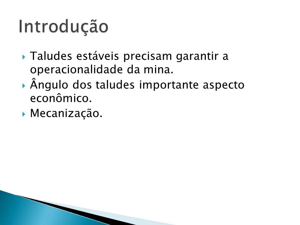 Introdução Taludes estáveis precisam garantir a operacionalidade da mina. Ângulo dos taludes importante aspecto econômico.
