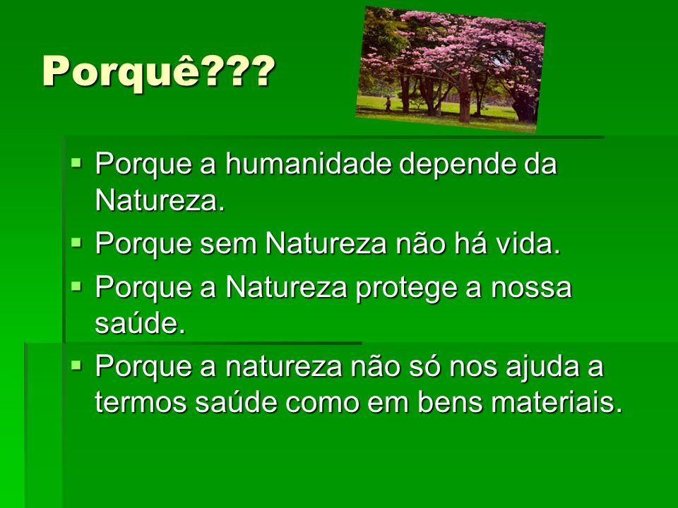 Porquê Porque a humanidade depende da Natureza.