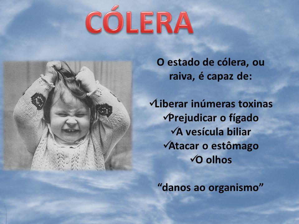 O estado de cólera, ou raiva, é capaz de: Liberar inúmeras toxinas