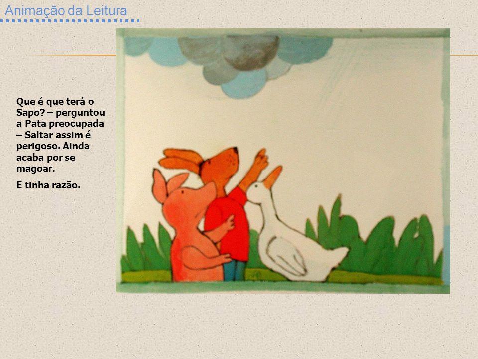 Animação da Leitura Que é que terá o Sapo – perguntou a Pata preocupada – Saltar assim é perigoso. Ainda acaba por se magoar.