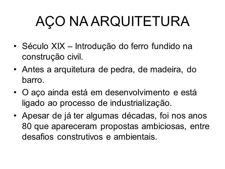 AÇO NA ARQUITETURA Século XIX – Introdução do ferro fundido na construção civil. Antes a arquitetura de pedra, de madeira, do barro.