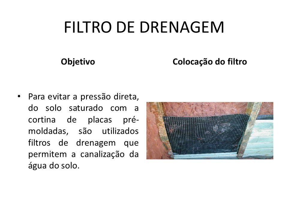 FILTRO DE DRENAGEM Objetivo Colocação do filtro