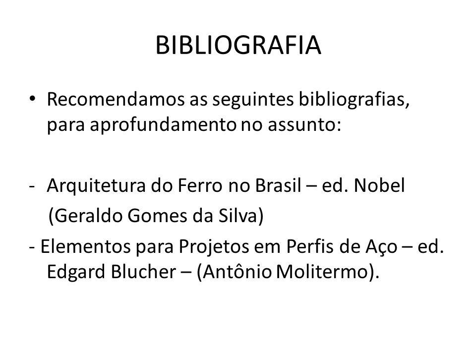 BIBLIOGRAFIA Recomendamos as seguintes bibliografias, para aprofundamento no assunto: Arquitetura do Ferro no Brasil – ed. Nobel.