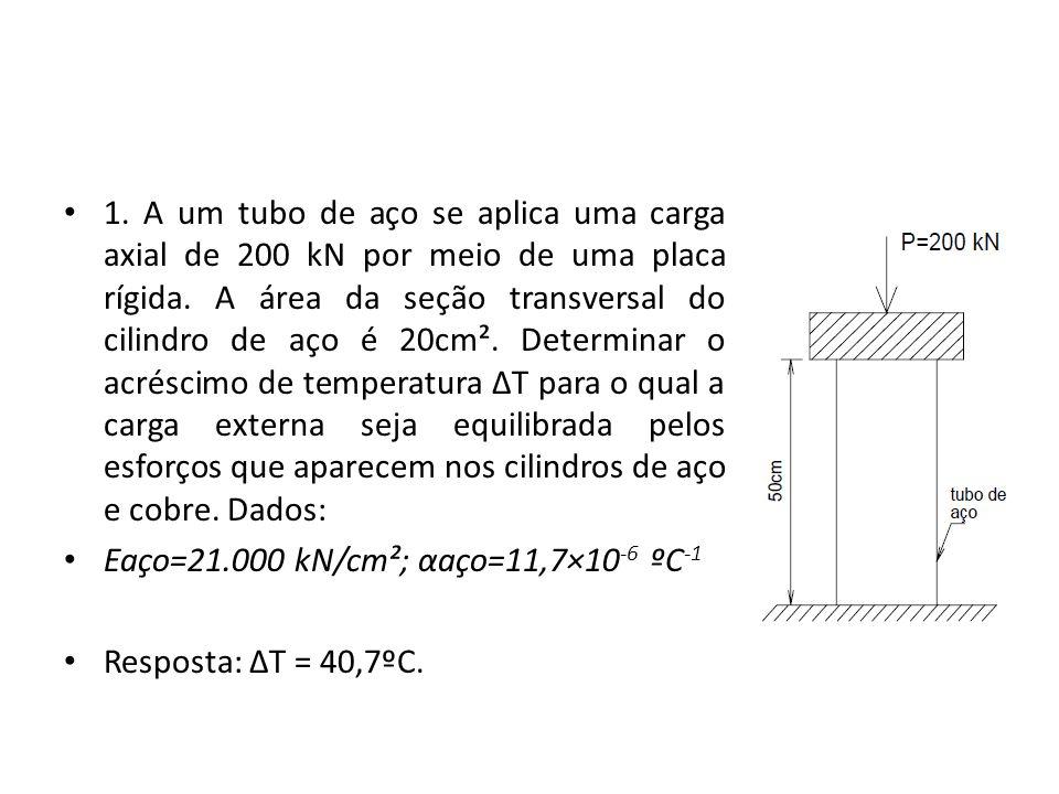1. A um tubo de aço se aplica uma carga axial de 200 kN por meio de uma placa rígida. A área da seção transversal do cilindro de aço é 20cm². Determinar o acréscimo de temperatura ΔT para o qual a carga externa seja equilibrada pelos esforços que aparecem nos cilindros de aço e cobre. Dados:
