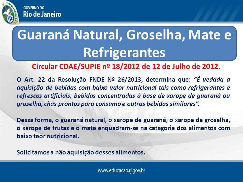 Guaraná Natural, Groselha, Mate e Refrigerantes