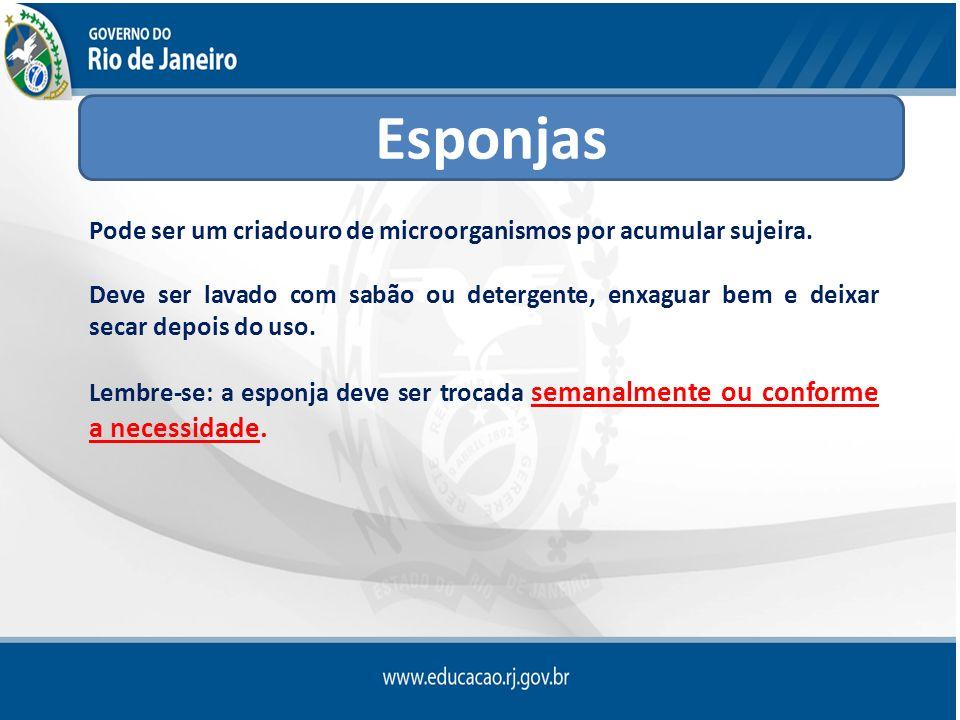 Esponjas Pode ser um criadouro de microorganismos por acumular sujeira.