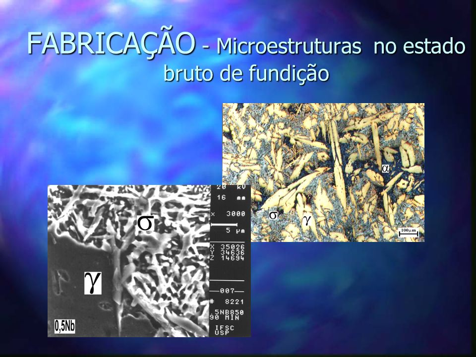 FABRICAÇÃO - Microestruturas no estado bruto de fundição