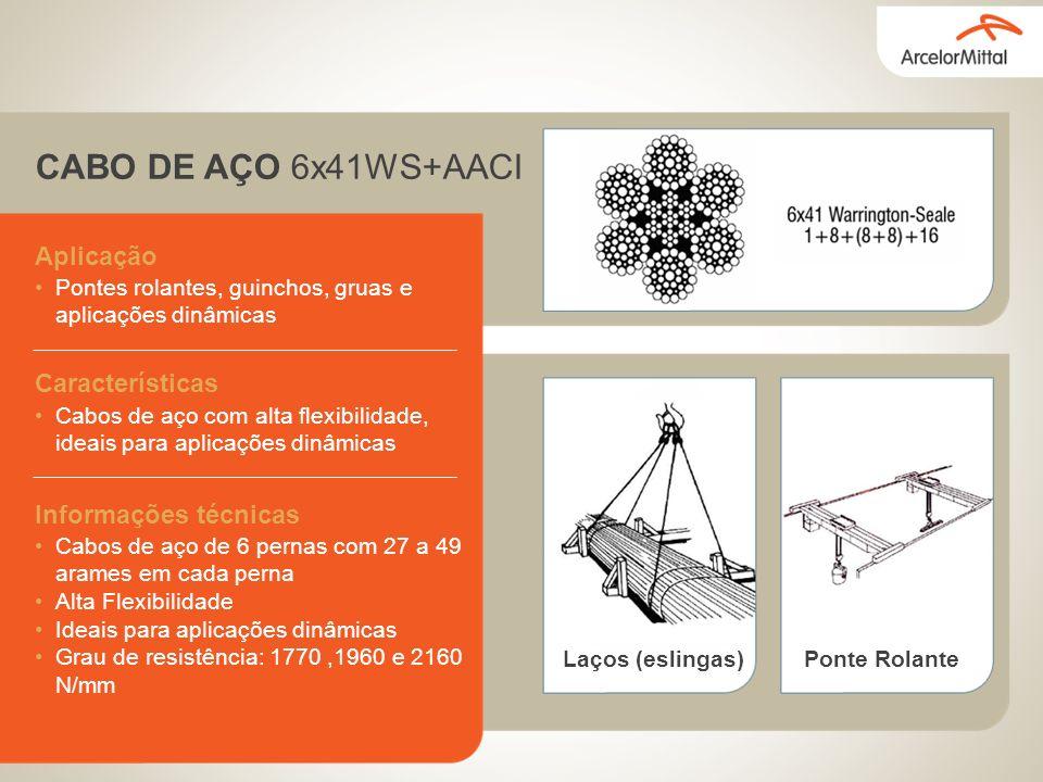 CABO DE AÇO 6x41WS+AACI Aplicação Características Informações técnicas