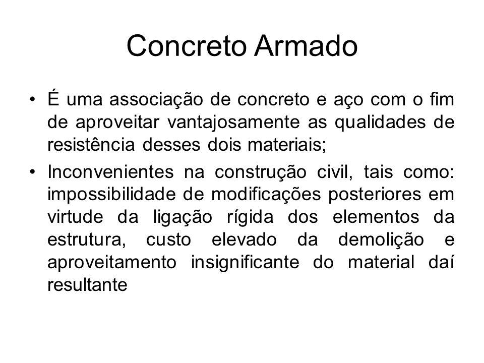 Concreto Armado É uma associação de concreto e aço com o fim de aproveitar vantajosamente as qualidades de resistência desses dois materiais;
