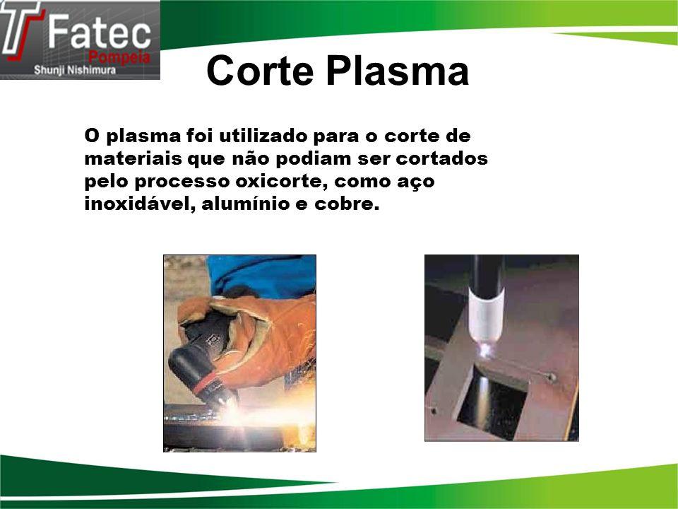 Corte Plasma O plasma foi utilizado para o corte de materiais que não podiam ser cortados pelo processo oxicorte, como aço.