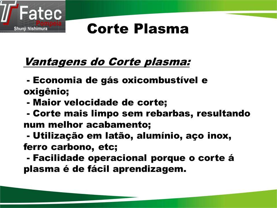 Corte Plasma Vantagens do Corte plasma: