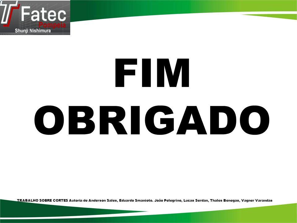 FIM OBRIGADO. TRABALHO SOBRE CORTES Autoria de Anderson Sales, Eduardo Smanioto.