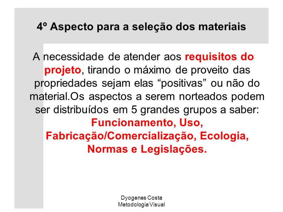 4º Aspecto para a seleção dos materiais