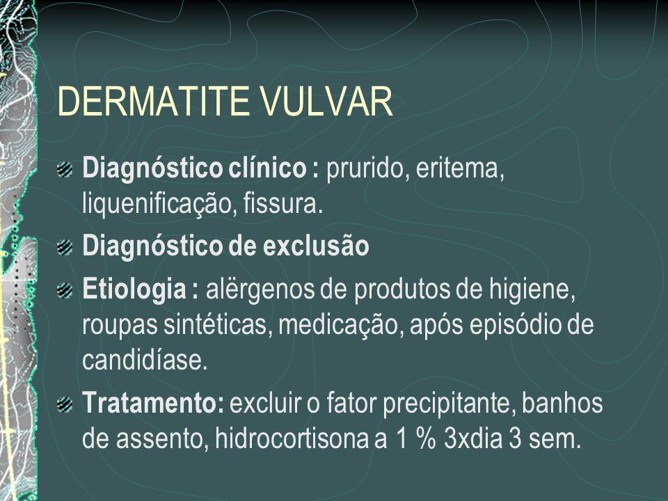 DERMATITE VULVAR Diagnóstico clínico : prurido, eritema, liquenificação, fissura. Diagnóstico de exclusão.