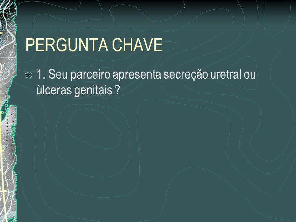 PERGUNTA CHAVE 1. Seu parceiro apresenta secreção uretral ou ùlceras genitais