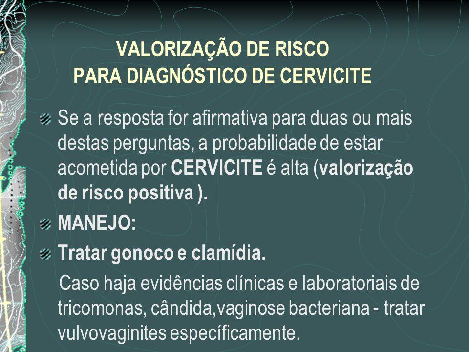 VALORIZAÇÃO DE RISCO PARA DIAGNÓSTICO DE CERVICITE