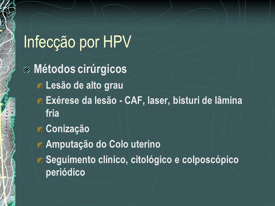 Infecção por HPV Métodos cirúrgicos Lesão de alto grau