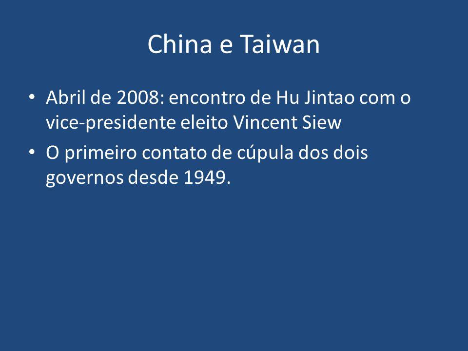 China e Taiwan Abril de 2008: encontro de Hu Jintao com o vice-presidente eleito Vincent Siew.