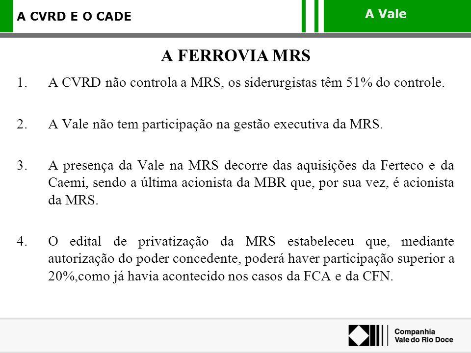 A FERROVIA MRS A CVRD não controla a MRS, os siderurgistas têm 51% do controle. A Vale não tem participação na gestão executiva da MRS.